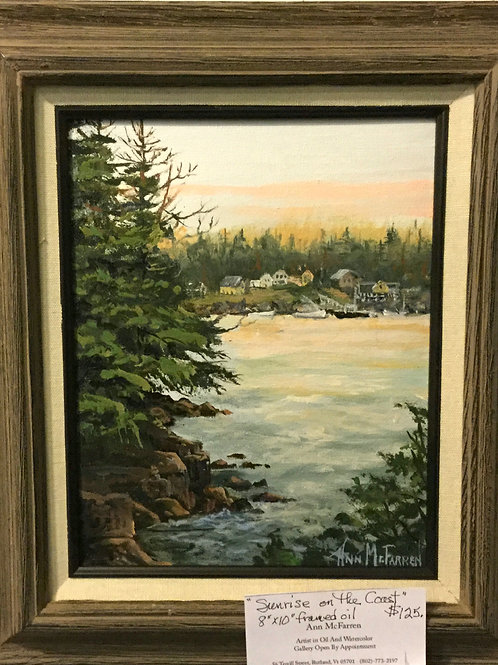 "Sunrise on the Coast - (8""x10"") - Framed Original Oil Painting"