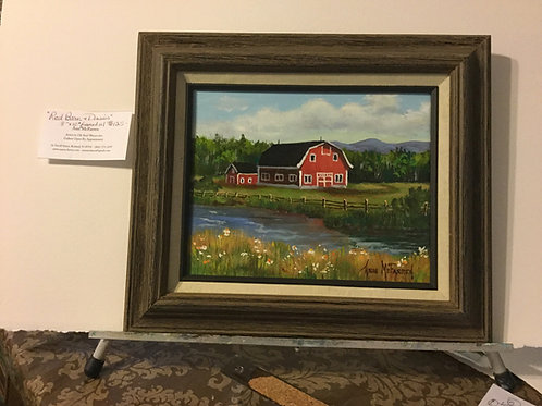 "Red Barn & Daisies - (8""x10"") - Framed Original Oil Painti"