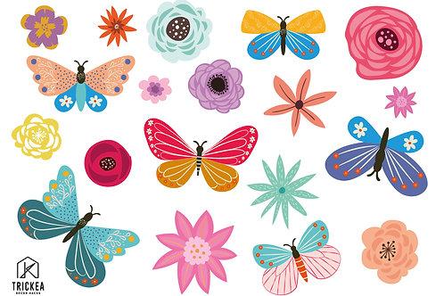 Pillangók és virágok bútor- és falmatrica szett A3