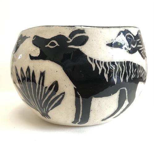 Large Thylacine Bowl - 2 Tasmanian Tigers