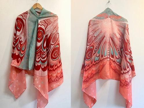 Autumn Glow Butterfly Moth Shawl - 100% Silk