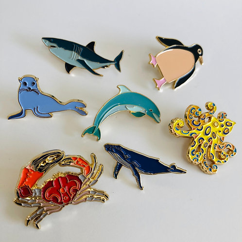 Set of 2 Sea Creature Lapel Pins