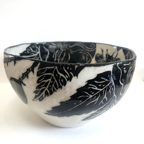 Large Bee Bowl with Blossoms and Rosehips