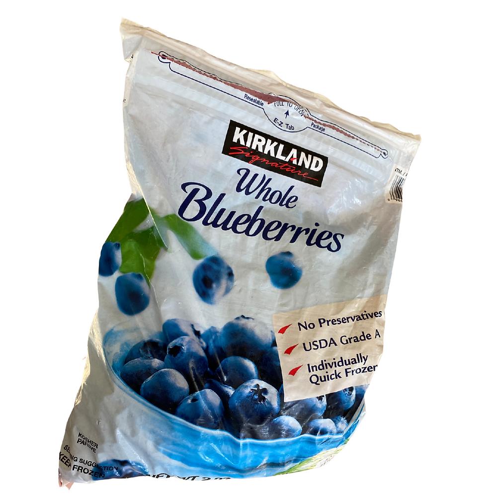 large bag of frozen blueberries