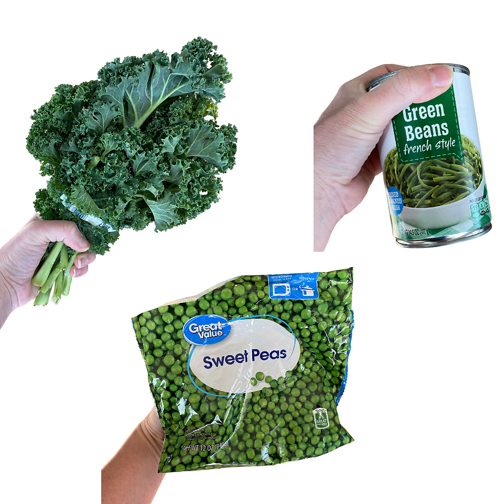 hands holding fresh kale, frozen peas, and canned green beans