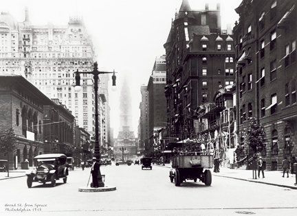 """Broad St. at Spruce, c. 1917 - 710H (16"""" x 22"""")"""