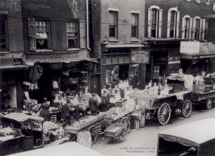 Vendors on South St. at 2nd, c. 1920 - 711H(16x22)