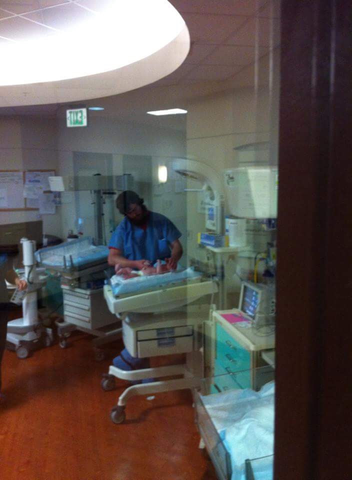 Dad accompanies Baby to NICU