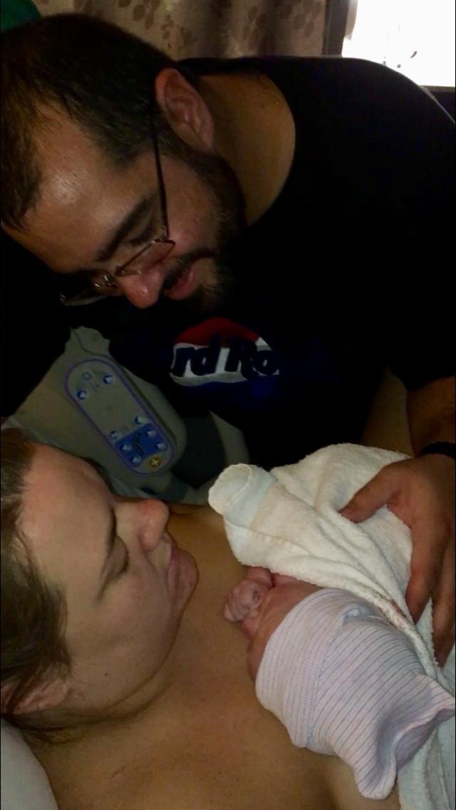 Dad meets his baby | natural birth