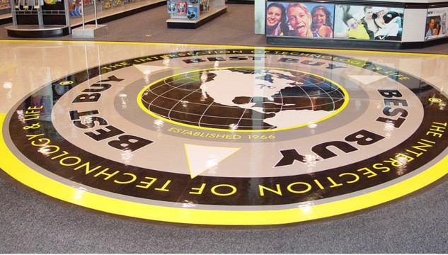 Best Buy Retail Stores vinyl floor featuring Best Buy logo