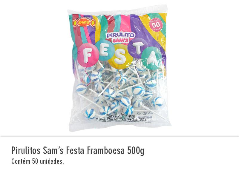 Pirulitos Sam`s Festa Framboesa 500g