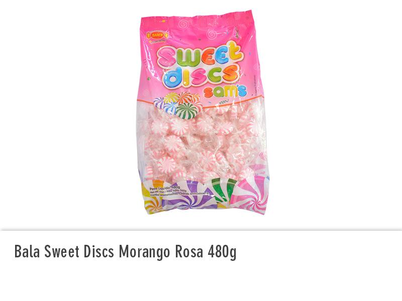 Bala Sweet Discs Morango Rosa 480g