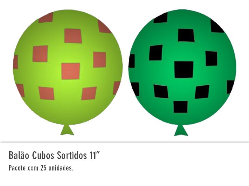 """Balão Cubo Sortidos 11"""""""