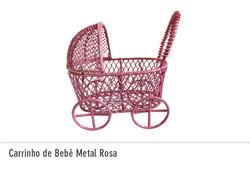Carrinho de Bebê Metal Rosa