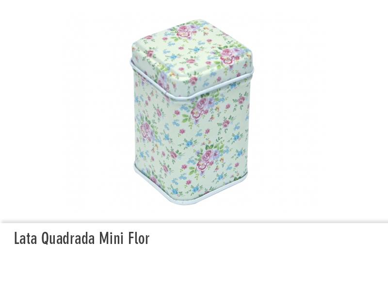 Lata Quadrada Mini Flor