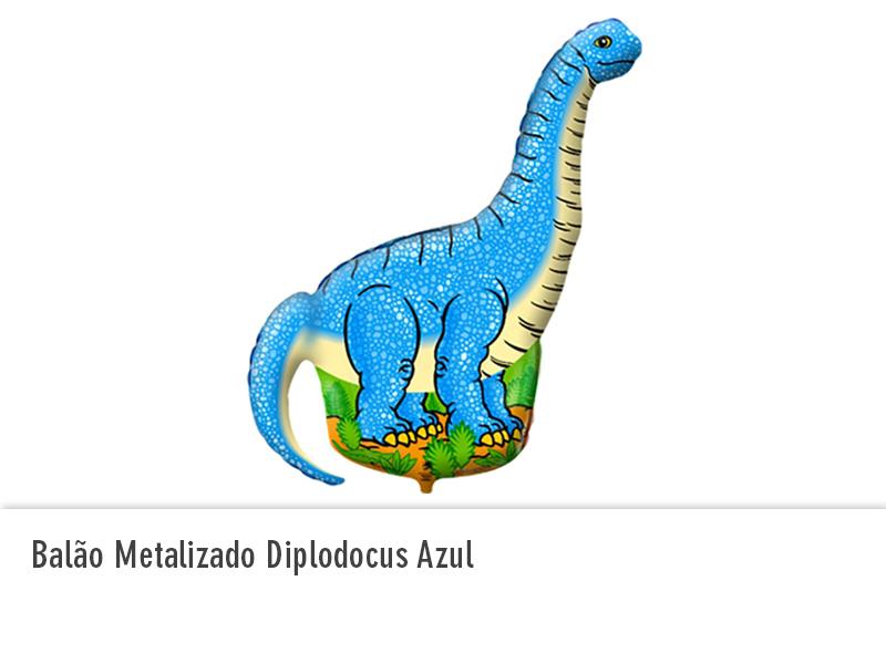 Balão Metalizado Diplodocus Azul