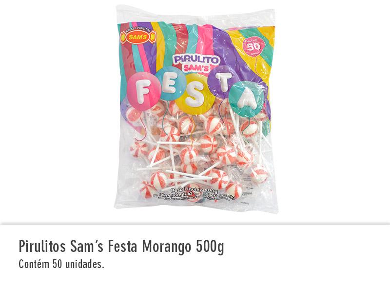 Pirulitos Sam`s Festa Morango 500g