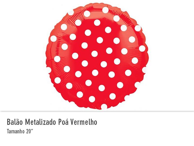 Balão Metalizado Poá Vermelho
