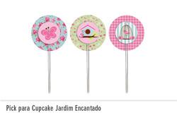 Pick para Cupcake Jardim Encantado