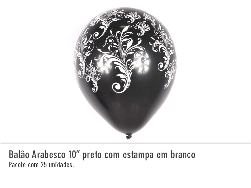 Balão Arabesco com estampa em branco