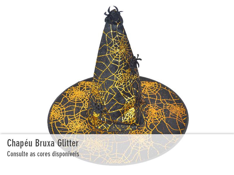 Chapéu de Bruxa com Glitter