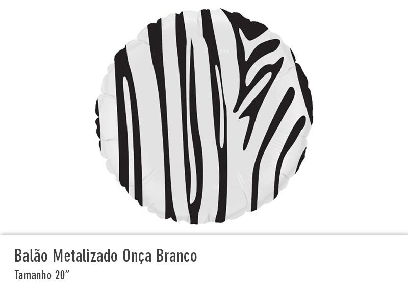 Balão Metalizado Onça Branco