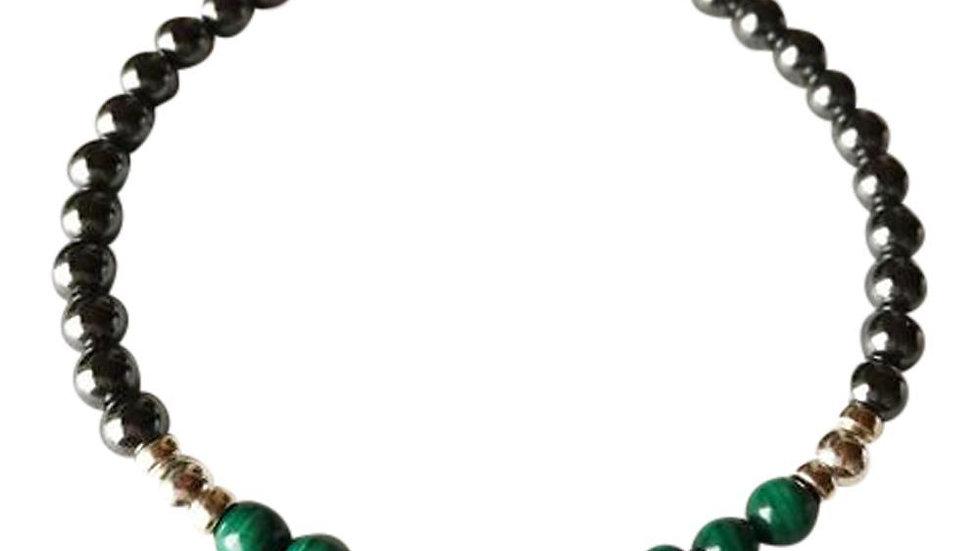 Hematite & Malachite Bracelet Sterling Silver Bracelet