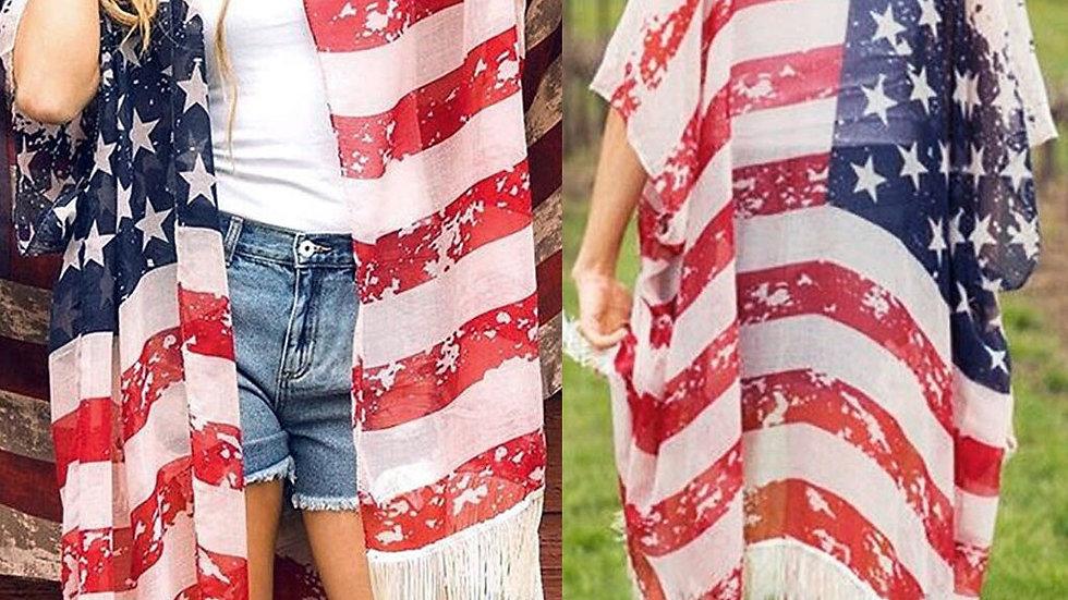 2020 Women American Flag  Shirt Kimono Sheer Chiffon T-Shirt 3/4 Shawl Cardigan