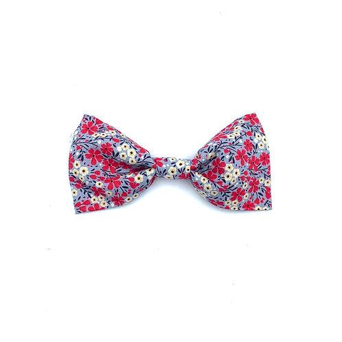 Grey/Pink Ditsy Floral Print Dog Bow