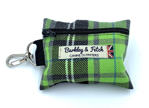 Green and Grey Tartan Poo Bag Holder