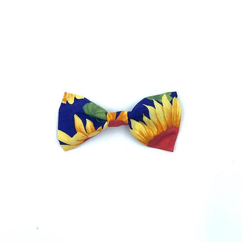 Sunflower Print Dog Bow