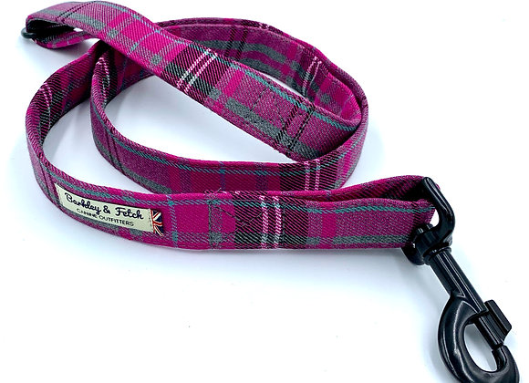 Pink & Grey Tartan Dog Lead