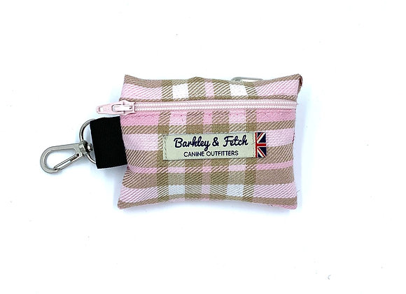 Pale Pink Tartan Poo Bag Holder