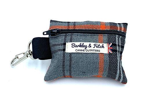 Orange and Grey Tartan Poo Bag Holder