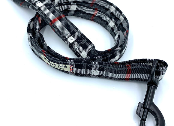 Grey/White Tartan Dog Lead