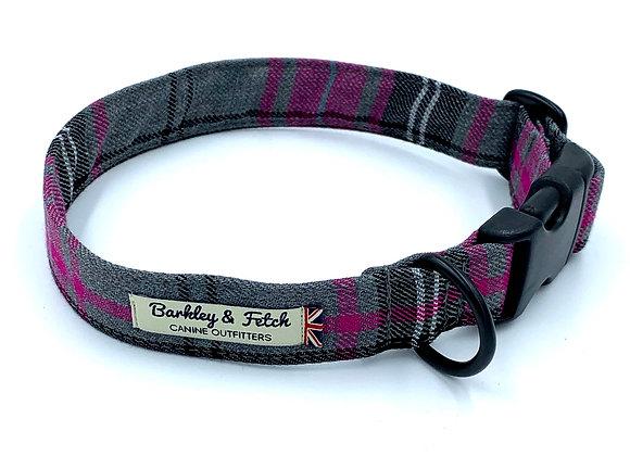 Pink & Grey Tartan Dog Collar