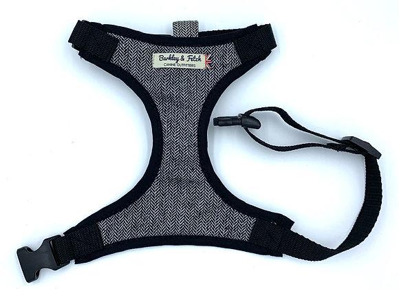 Grey Herringbone Dog Harness