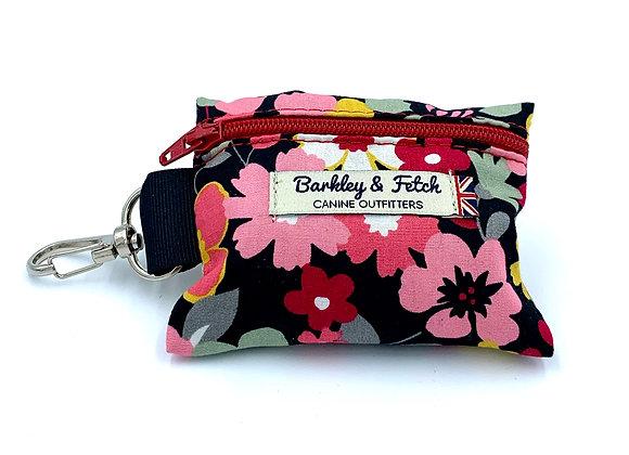 Black and Pink Flower Poo Bag Holder