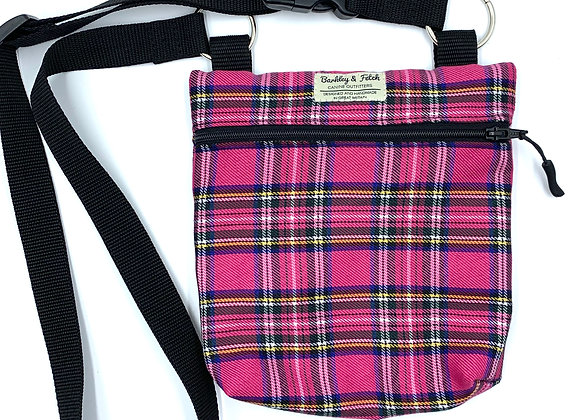 Bright Pink Tartan Dog Walk and Treat Bag