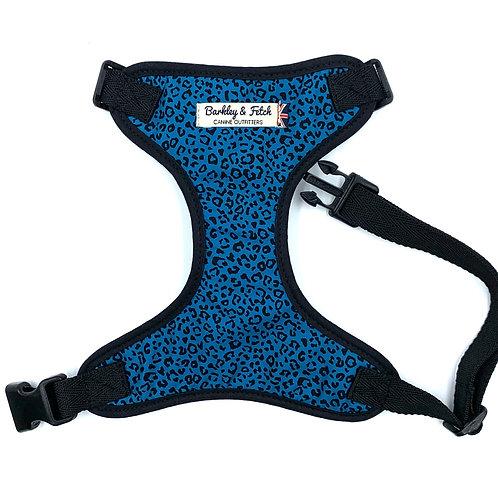 Teal Leopard Print  Dog Harness