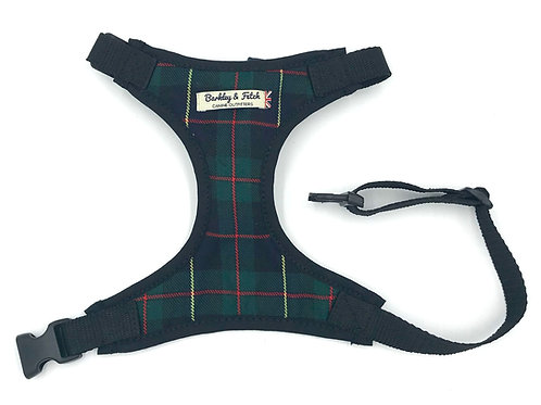 Green/Navy Tartan Fabric Harness