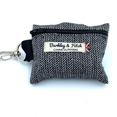 Grey Herringbone Poo Bag Holder