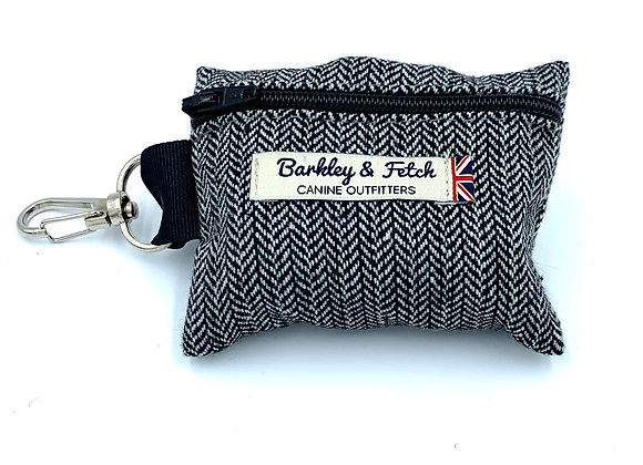 Grey Herringbone Poo Bag Holder