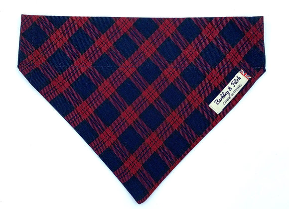Burgundy/Navy Tartan Dog Bandana