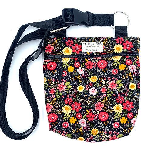 Black Ditsy Floral Dog Walk and Treat Bag