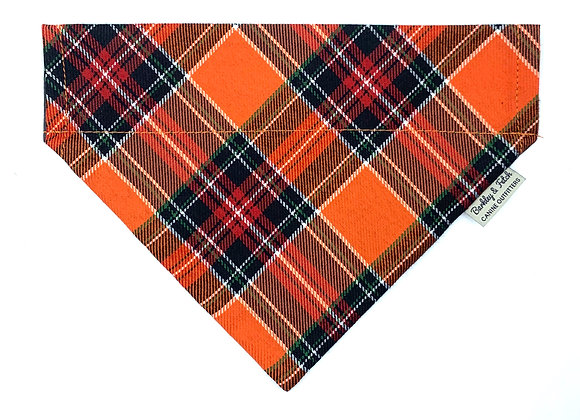 Retro Orange Tartan Dog Bandana