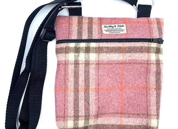 Pink Woolmix Check Dog Walk and Treat Bag