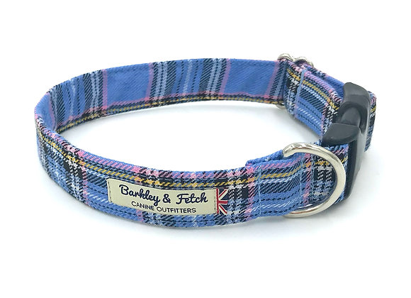 Blue Tartan Dog Collar