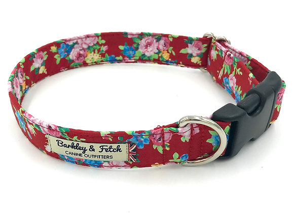 Red Ditsy Floral Print Dog Collar