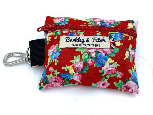 Red Ditsy Floral Print Poo Bag Holder